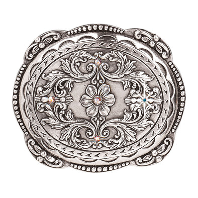 Blazin Roxx Ladies Buckle Oval Dot Edge Floral with Crystals 2.75x3.25""