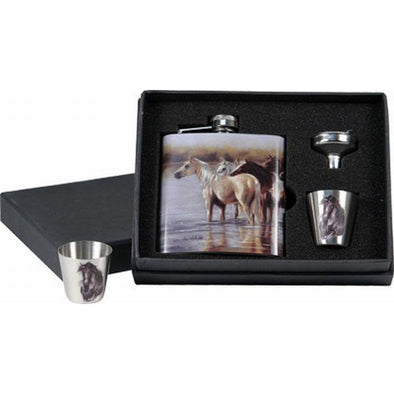 7oz Horse Flask with Shot Glasses
