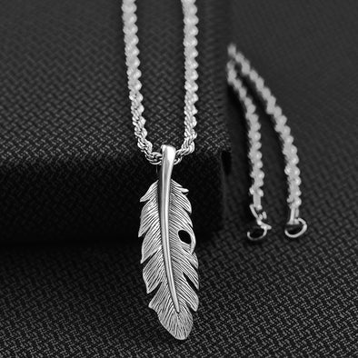 Twister Mens Necklace - Silver Feather 24""