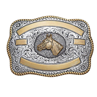 Crumrine Trophy Buckle Rectangle - Horse Head