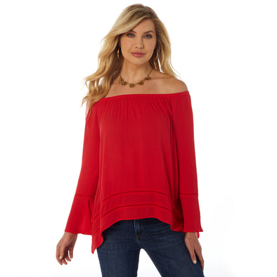 Wrangler Ladies Shoulder Smocked Top w/Bell Sleeve - Red