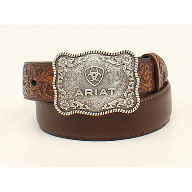"Ariat Boys Belt 1.25"" Distressed Brown with Embossed Tabs"