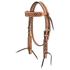 "Weaver Turquoise Cross 5/8"" Pony Browband Headstall, Navajo Diamond Embroidery - Light Oiled"