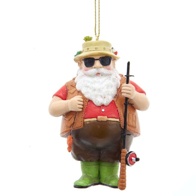 "3.75"" Resin Chubby Fishing Santa"
