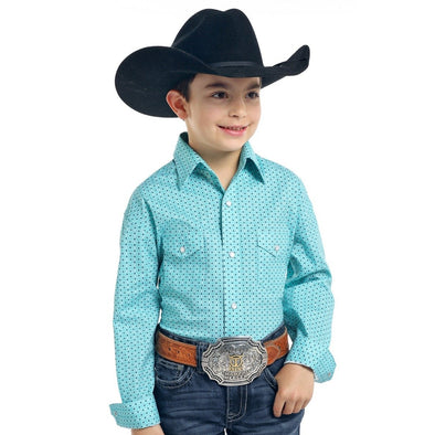 Roughstock Boy's LS Snap Light Turquoise Shirt