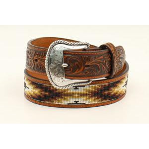"Nocona Mens Belt 1.5"" Tan, Brown and White Beaded Inlay"