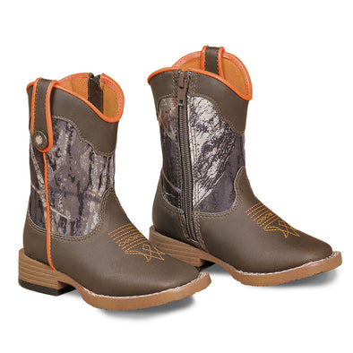 ***Double Barrel Buckshot Toddler Cowboy Boot with Zipper Access - Brown Square Toe with Mossy Oak Shaft