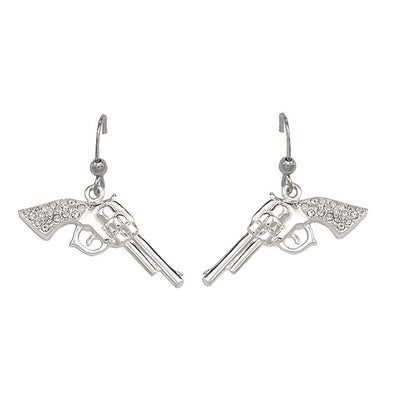 Montana Silversmiths Cowgirl Pistols Rhinestone Drop Earrings