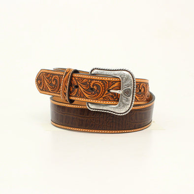 "***Ariat Mens Belt 1.5"" Brown Crocodile"