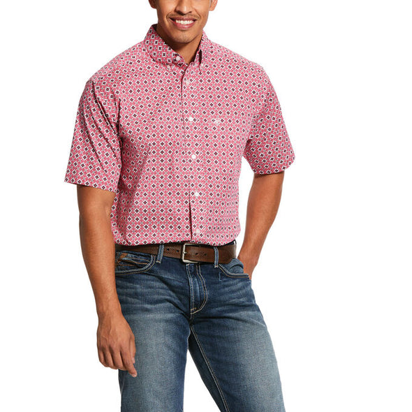 Ariat Men's Kaufman SS Print Stretch Classic Fit Shirt  Rose Red