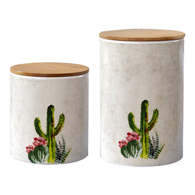 2 PC Suculent Design Canister Set