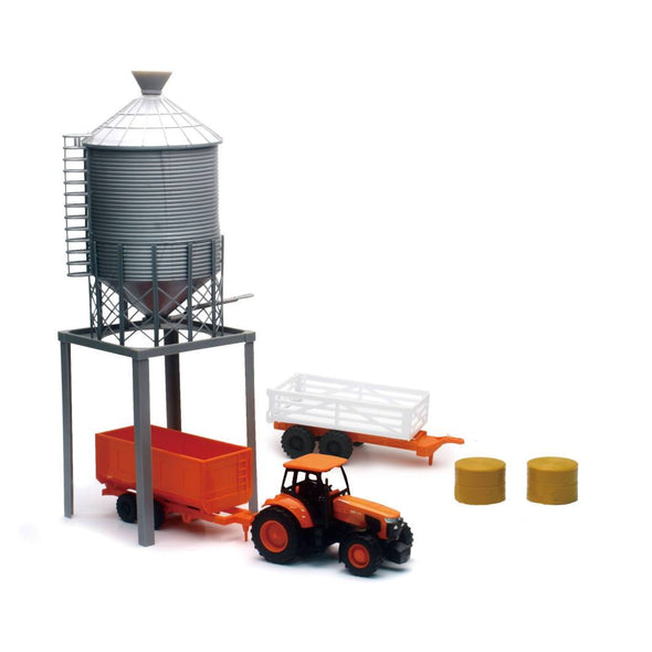 Kubota Farm Tractor and Grain Bin Tower Set