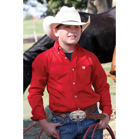 Cinch Classic Fit Boy's Shirt - Red