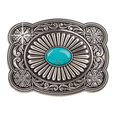 Blazin Roxx Ladies Buckle Rectangle with Scalloped Edge and Turquoise Stone