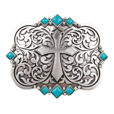 Blazin Roxx Ladies Buckle Rectangle -  Silver Scroll and Cross