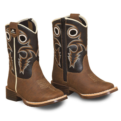 Double Barrel Toddler Trace Cowboy Boot - Brown with Black