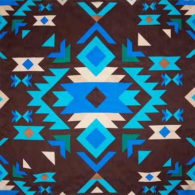 Wyoming Traders #9 Brown Blue Southwest Silk Scarf