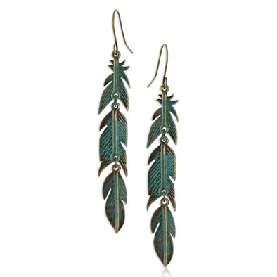Montana Silversmith Dangling Teal Feather Earrings