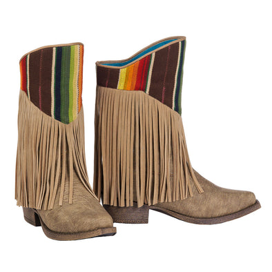 ***Blazin Roxx Youth Raven Cowboy Boot with Zipper Access - Brown Snip Toe Serape Top