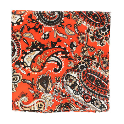 Wild Rag Paisley Patterned  33x33 Orange