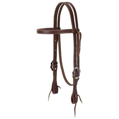 Weaver Working Tack Straight Browband Headstall with Buffed Brown Iron Hardware, Average