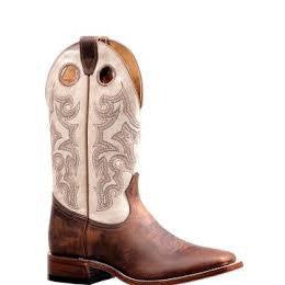 Boulet Men's Cowboy Boot - Brown/Cream - Irvines Saddles