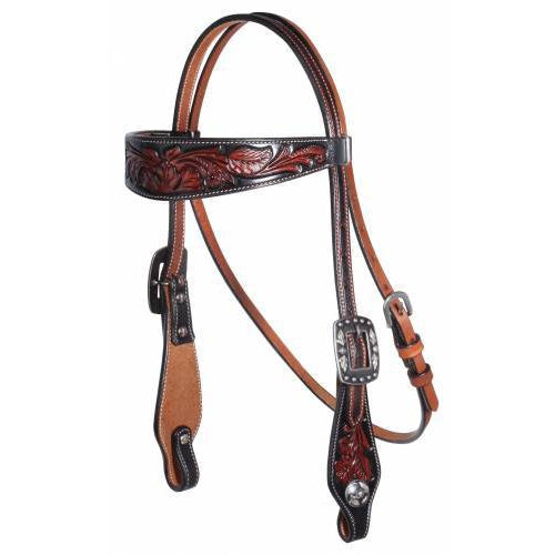 Professional's Choice Browband Floral Black Headstall