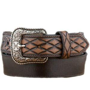 Hooey Belt, Tooled Scroll Tips w/Diamonds