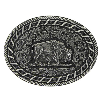 Montana Silversmiths Antiqued Buck Stitch Oval Buffalo Buckle