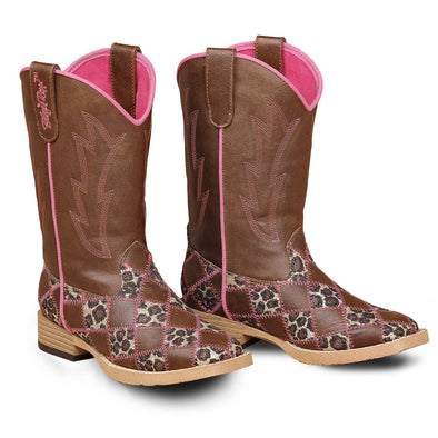 ***Blazin Roxx Miley Childrens Cowboy Boot - Brown Square Toe with Sequence Leopard Print Patchwork