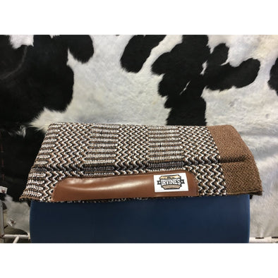 Acrylic Geometric pattern Felt Saddle Blanket & Pocket w/Velco  LT Brown