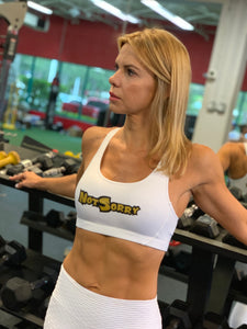 "BiLTBiTCH ""NotSorry"" White Sports Bra"