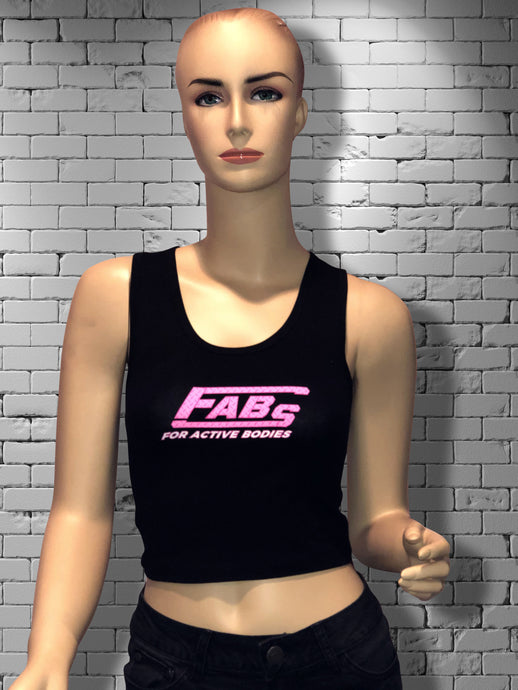 FABs Hot Pink Diamond Plate Logo Black Racerback Tank Top