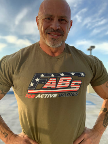 FABs Custom Patriot Logo on Military Green T-shirt