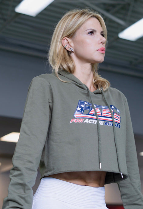 FABs Military Green Cropped Hoodie w/Custom Patriot Logo