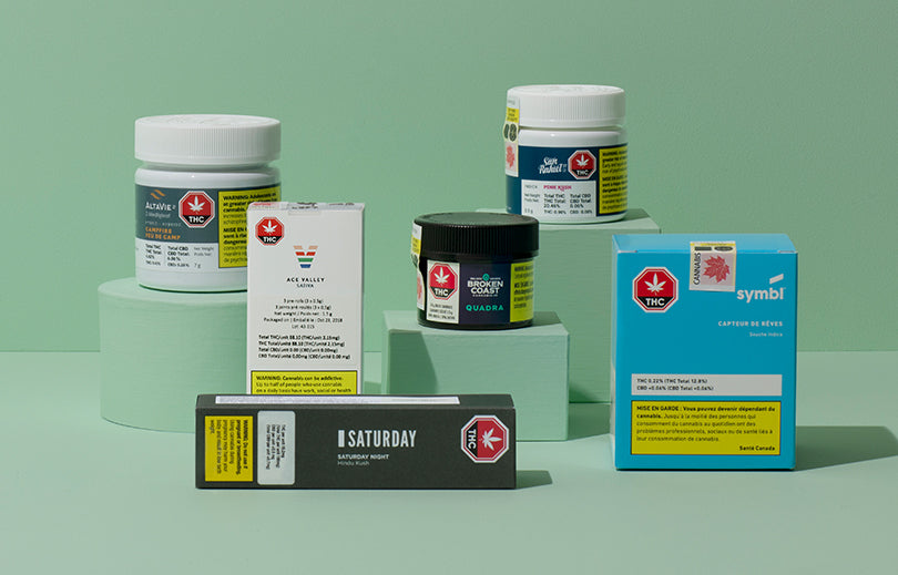 Image of several types of packaging for cannabis products