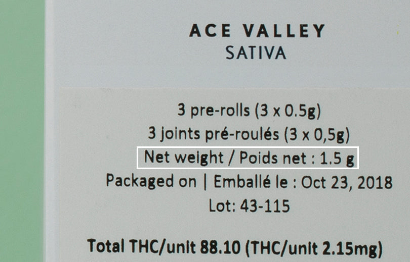 Image hilighting the net weight of the cannabis content on the product label