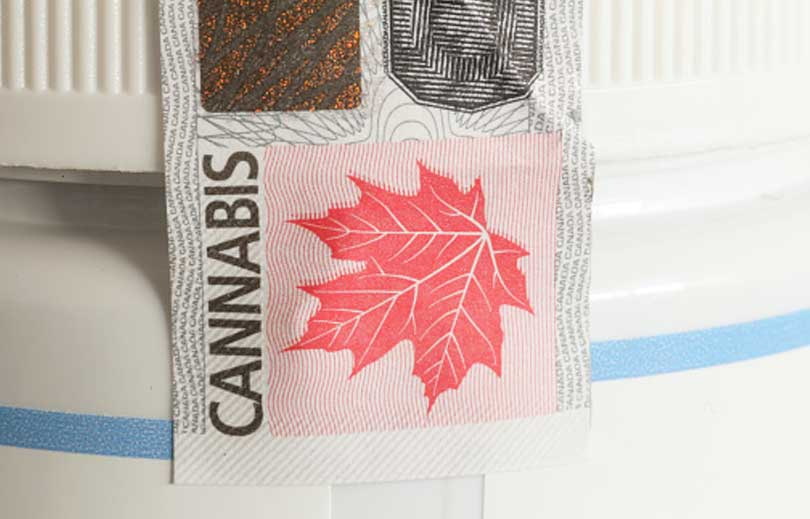 Image of an excise stamp on a cannabis package