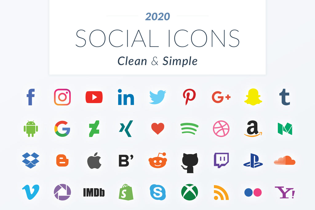 2020 Clean & Simple Social Icons
