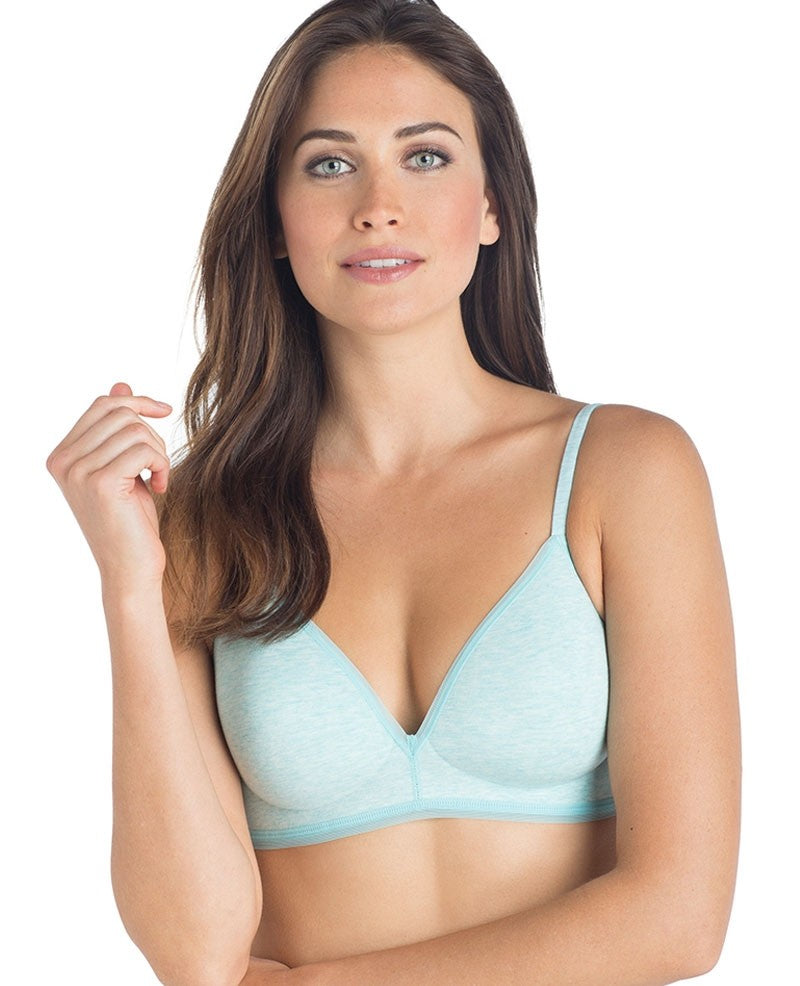 Cabana Cotton Modal Wire-Free Bra - Aquamarine Heather