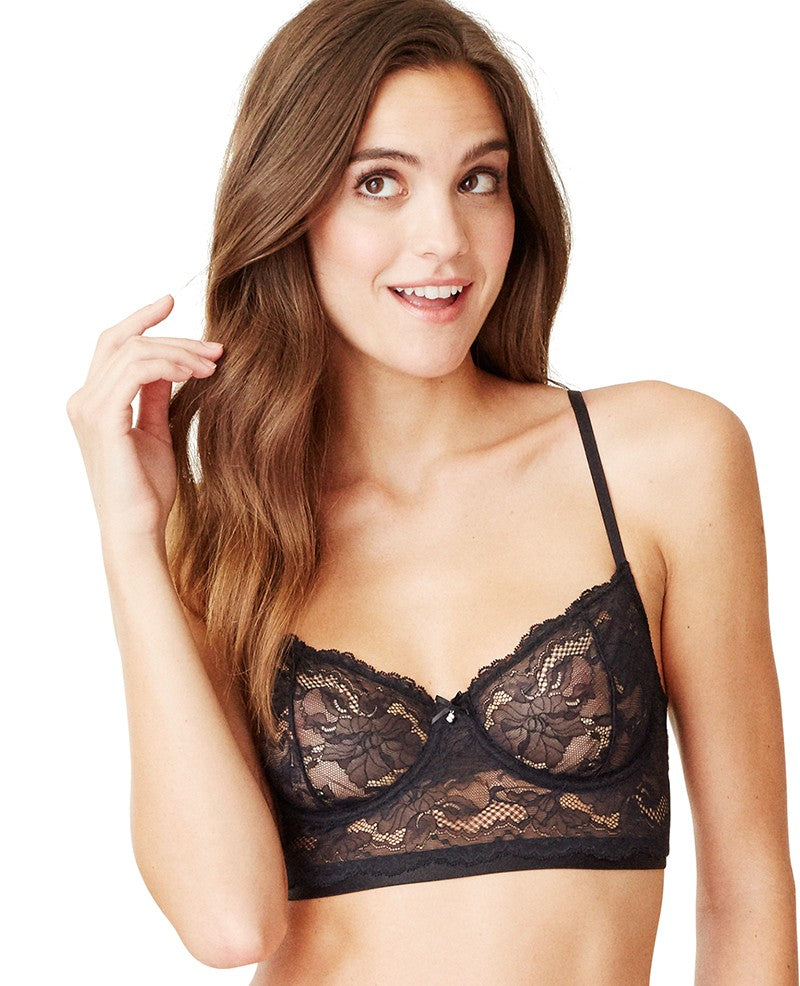 Beautifully Basic Lace Unlined Crop Bustier - Black
