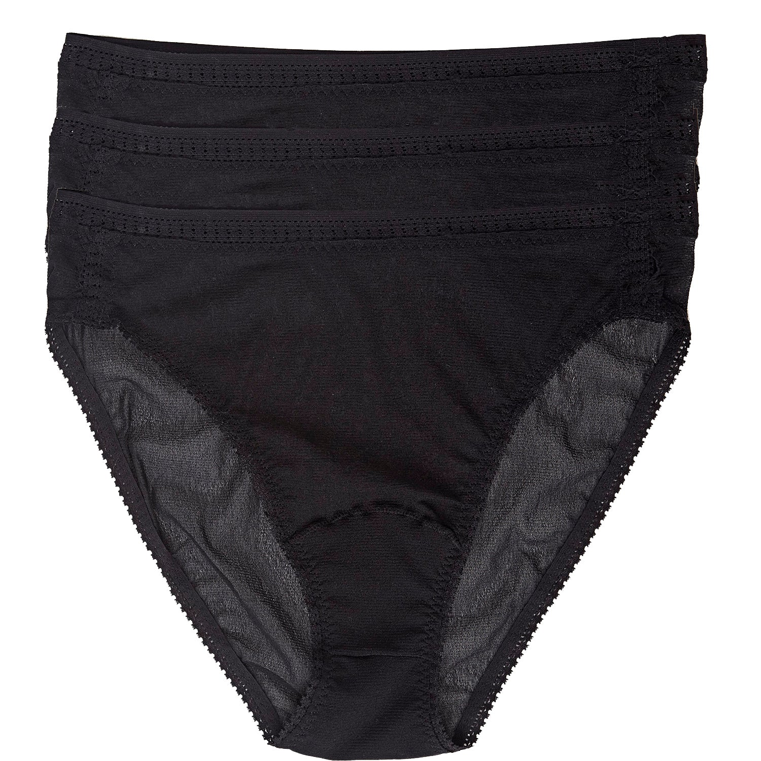Gossamer Mesh Hi Cut Brief 3-Pack - Black