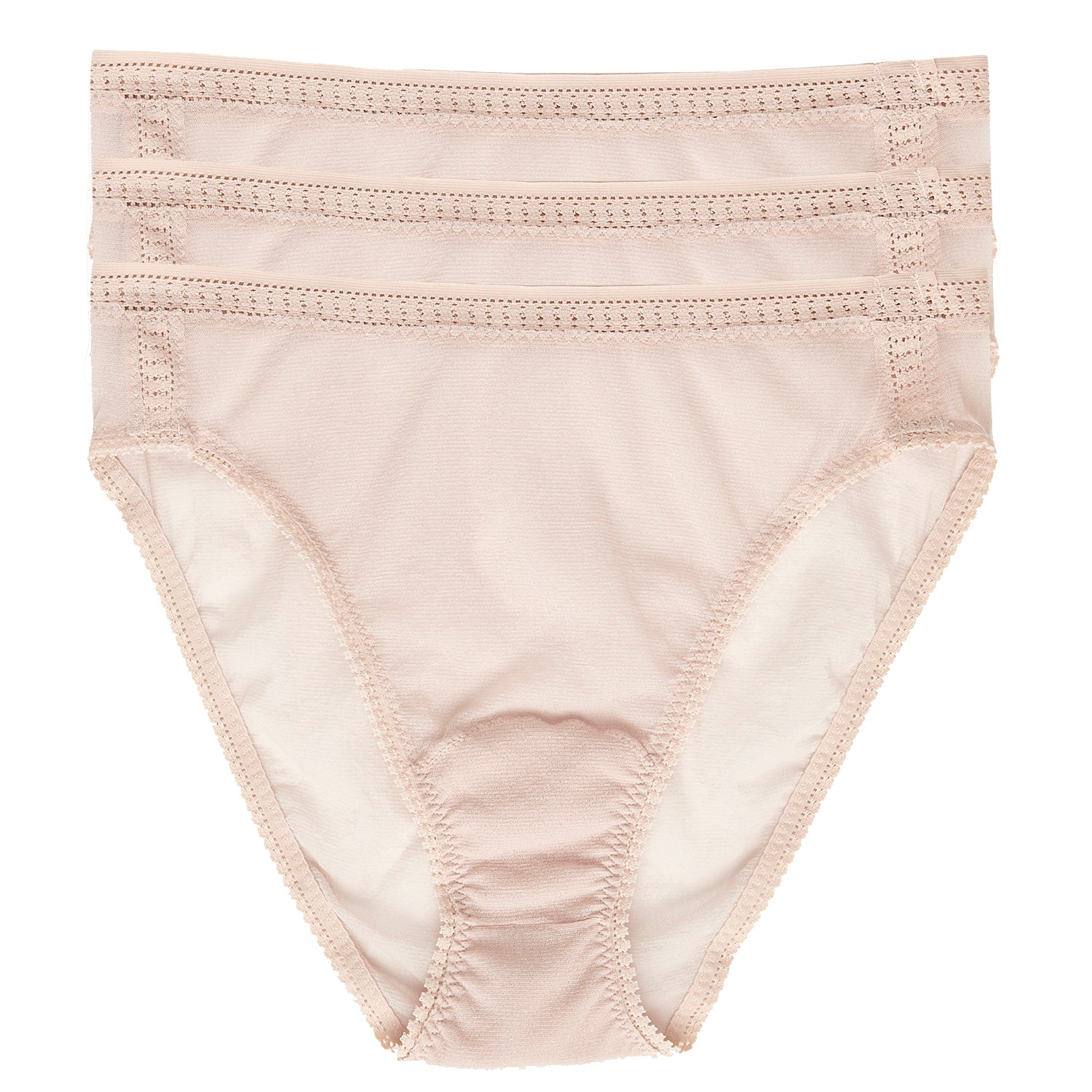 Gossamer Mesh Hi Cut Brief 3-Pack - Champagne