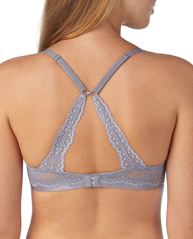 Beautifully Basic Lace Back Plunge Bra - Quicksilver