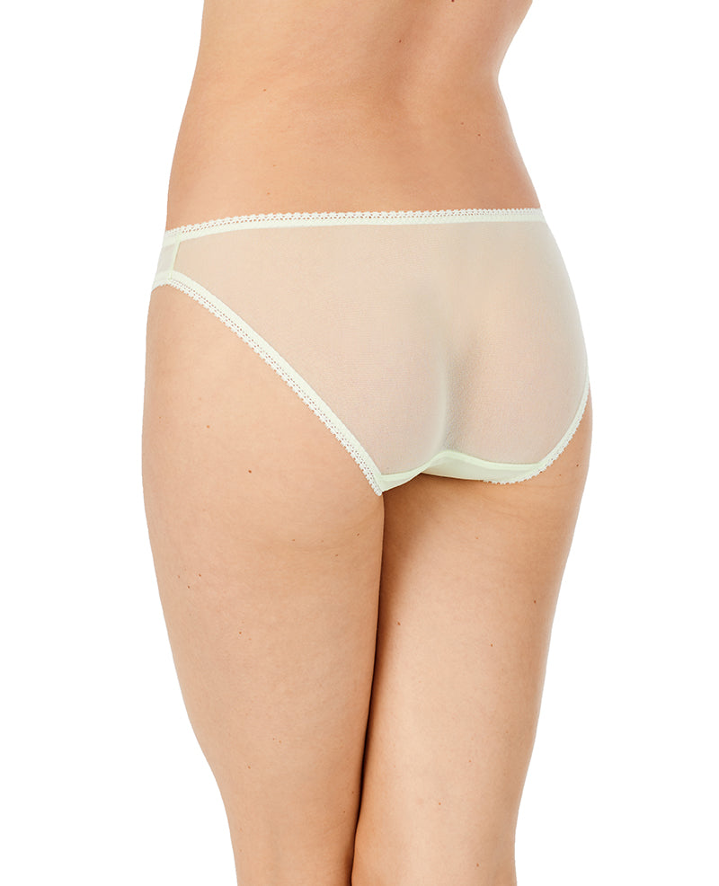 Gossamer Mesh Hip Bikini - Lime Cream