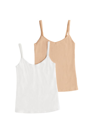 Cabana Cotton Reversible Cami 2-Pack - Champagne White