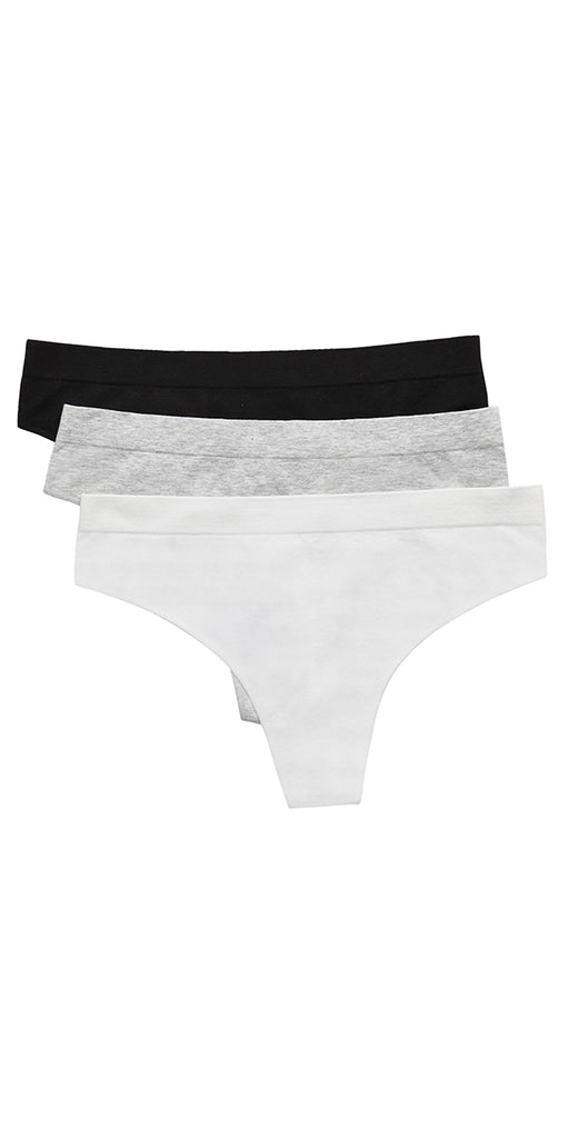 Cabana Cotton Seamless Thong 3 Pack  - Black, White, Heather Grey