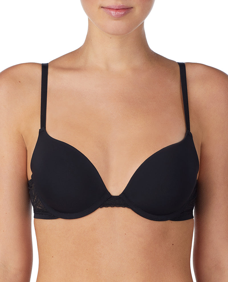 Sleek Micro Push Up Bra With Lace - Black