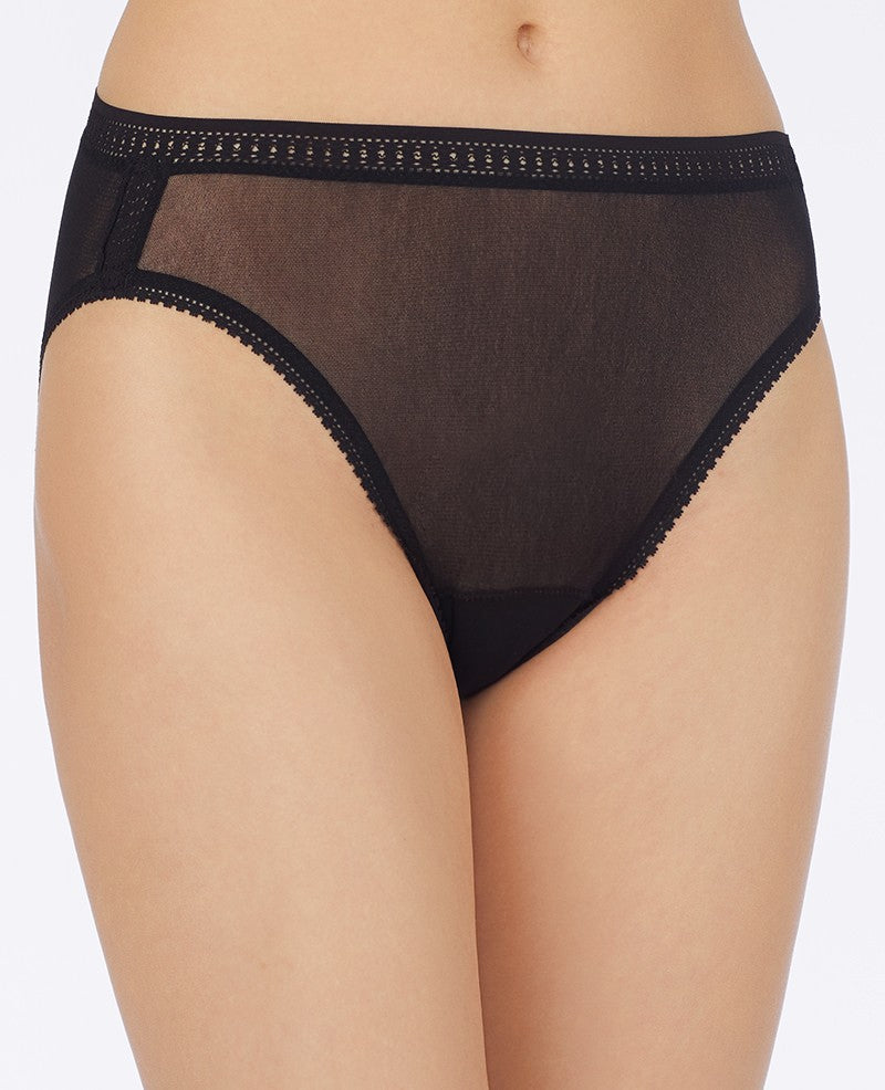 Gossamer Mesh Hi-Cut Brief - Black
