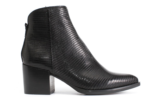 Black Snake Print Ankle Boots